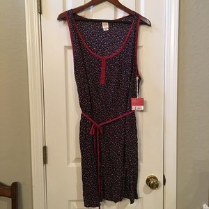 Floral dress with red piping size XXL
